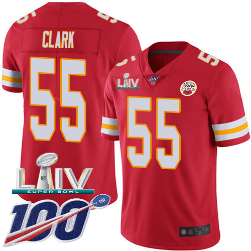 Kansas City Chiefs Nike 55 Frank Clark Red Super Bowl LIV 2020 Team Color Men Stitched NFL 100th Season Vapor Untouchable Limited Jersey