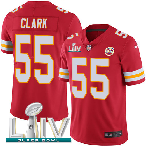 Kansas City Chiefs Nike 55 Frank Clark Red Super Bowl LIV 2020 Team Color Men Stitched NFL Vapor Untouchable Limited Jersey