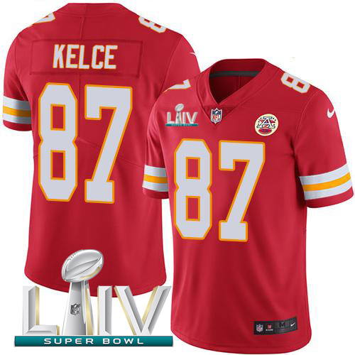 Kansas City Chiefs Nike 87 Travis Kelce Red Super Bowl LIV 2020 Team Color Youth Stitched NFL Vapor Untouchable Limited Jersey
