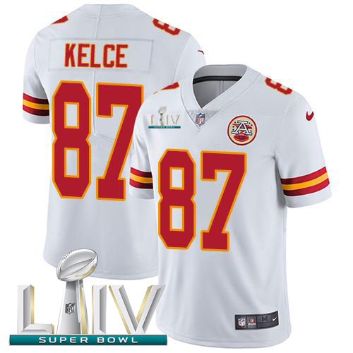 Kansas City Chiefs Nike 87 Travis Kelce White Super Bowl LIV 2020 Youth Stitched NFL Vapor Untouchable Limited Jersey