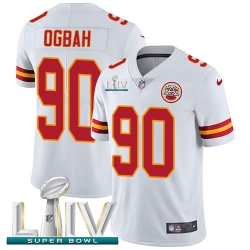 Kansas City Chiefs Nike 90 Emmanuel Ogbah White Super Bowl LIV 2020 Youth Stitched NFL Vapor Untouchable Limited Jersey