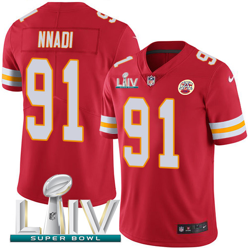 Kansas City Chiefs Nike 91 Derrick Nnadi Red Super Bowl LIV 2020 Team Color Youth Stitched NFL Vapor Untouchable Limited Jersey