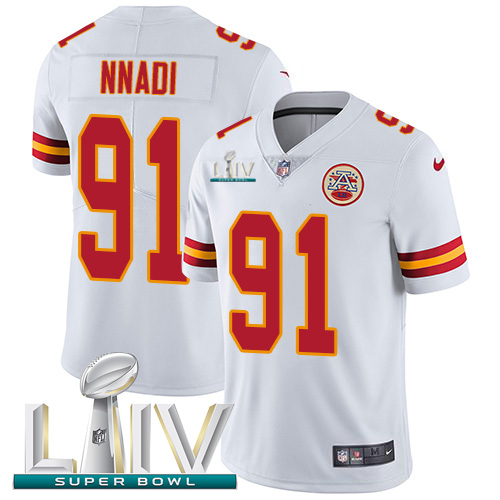 Kansas City Chiefs Nike 91 Derrick Nnadi White Super Bowl LIV 2020 Youth Stitched NFL Vapor Untouchable Limited Jersey