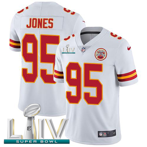 Kansas City Chiefs Nike 95 Chris Jones White Super Bowl LIV 2020 Men Stitched NFL Vapor Untouchable Limited Jersey