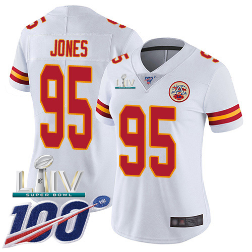 Kansas City Chiefs Nike 95 Chris Jones White Super Bowl LIV 2020 Women Stitched NFL 100th Season Vapor Untouchable Limited Jersey