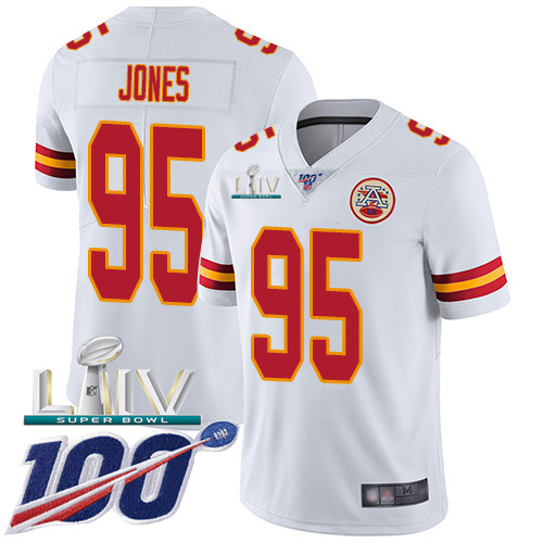 Kansas City Chiefs Nike 95 Chris Jones White Super Bowl LIV 2020 Youth Stitched NFL 100th Season Vapor Untouchable Limited Jersey