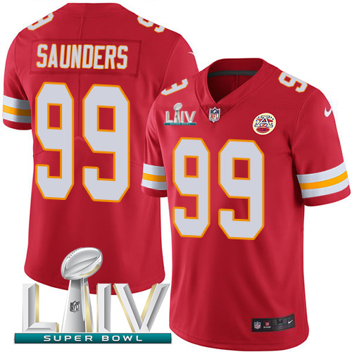 Kansas City Chiefs Nike 99 Khalen Saunders Red Super Bowl LIV 2020 Team Color Youth Stitched NFL Vapor Untouchable Limited Jersey