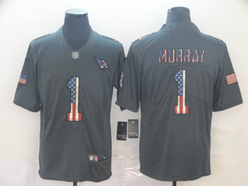 Men Arizona Cardinals 1 Murray Carbon Black Retro USA flag Nike NFL Jerseys
