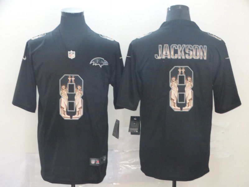 Men Baltimore Ravens 8 Jackson Black Goddess fashion Edition Nike NFL Jerseys