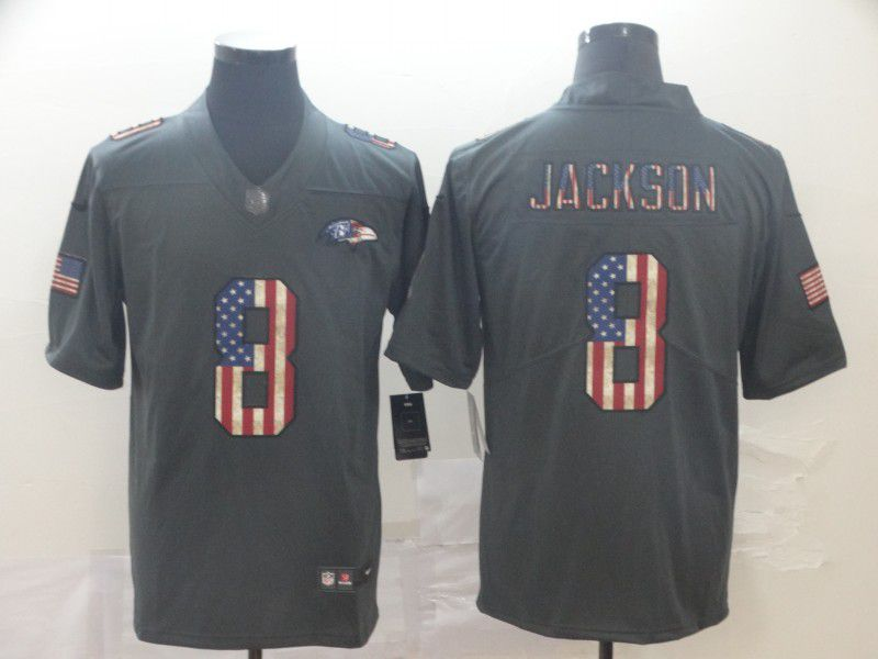 Men Baltimore Ravens 8 Jackson Carbon Black Retro USA flag Nike NFL Jerseys