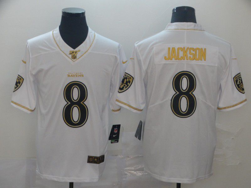 Men Baltimore Ravens 8 Jackson White Retro gold character Nike NFL Jerseys