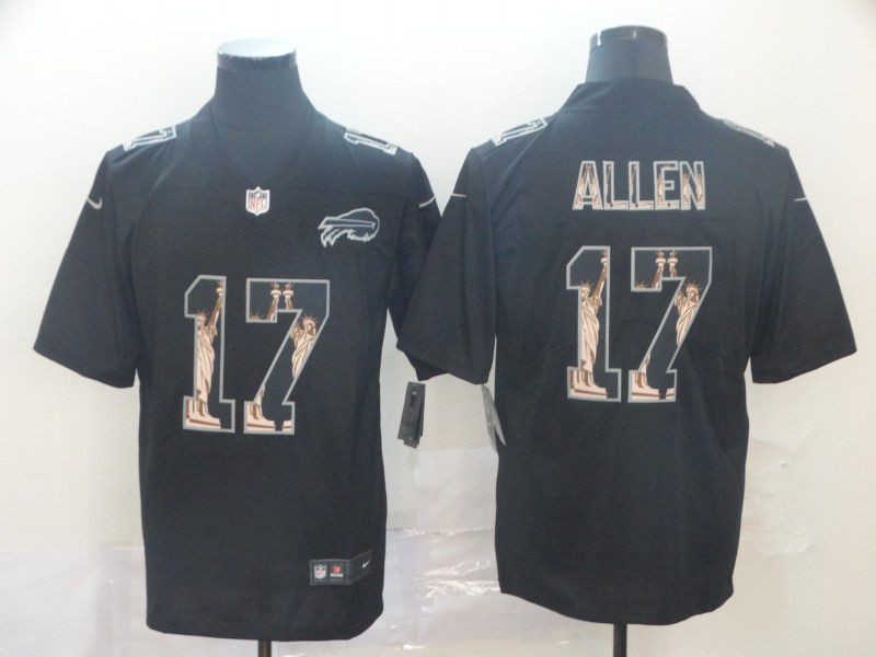 Men Buffalo Bills 17 Allen Black Goddess fashion Edition Nike NFL Jerseys