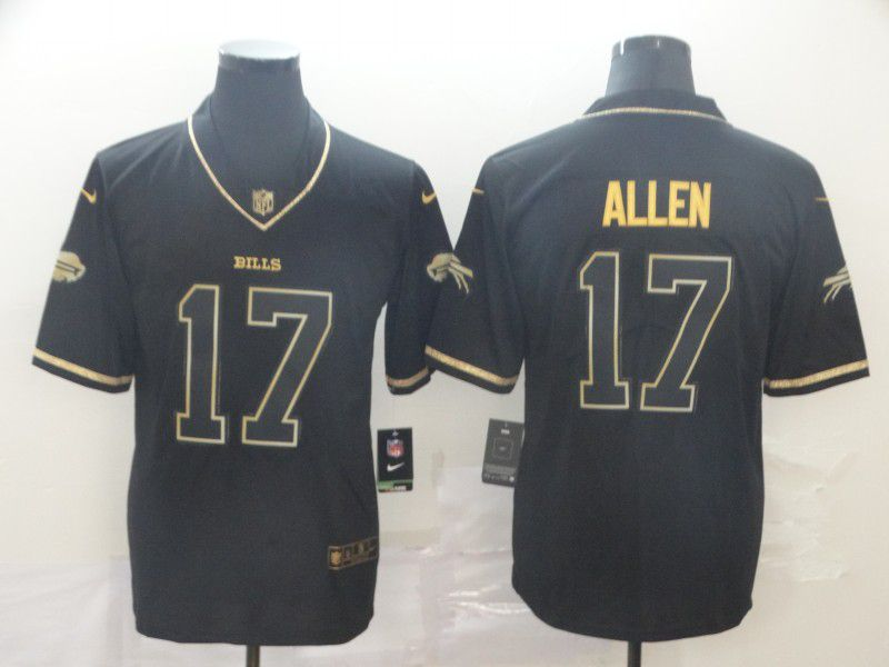 Men Buffalo Bills 17 Allen Black Retro gold character Nike NFL Jerseys