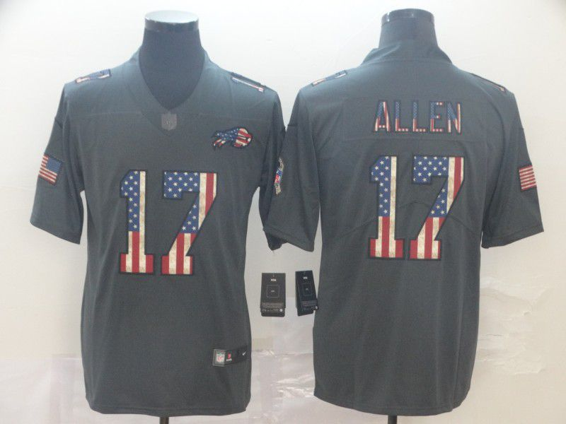 Men Buffalo Bills 17 Allen Carbon Black Retro USA flag Nike NFL Jerseys