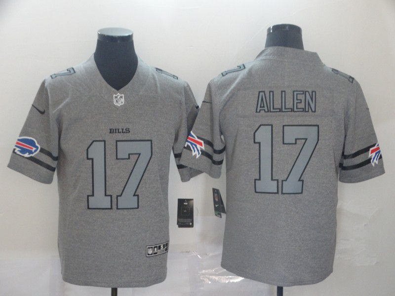 Men Buffalo Bills 17 Allen Grey Retro Nike NFL Jerseys