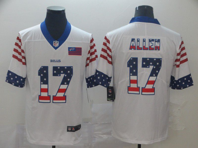 Men Buffalo Bills 17 Allen White Retro USA Flag Nike NFL Jerseys