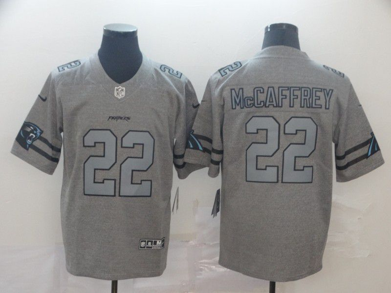 Men Carolina Panthers 22 Mccaffrey Grey Retro Nike NFL Jerseys