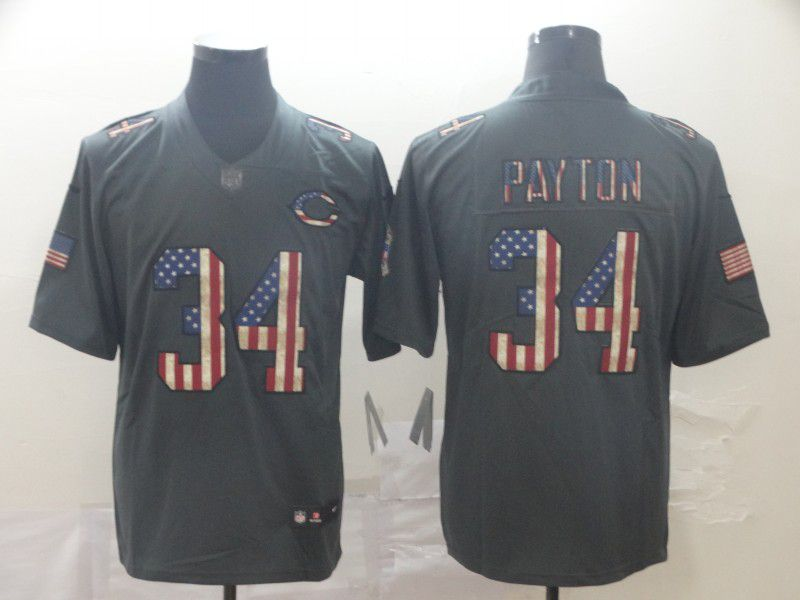 Men Chicago Bears 34 Payton Carbon Black Retro USA flag Nike NFL Jerseys