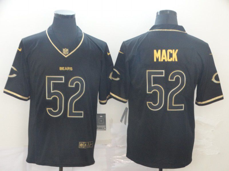 Men Chicago Bears 52 Mack Black Retro gold character Nike NFL Jerseys