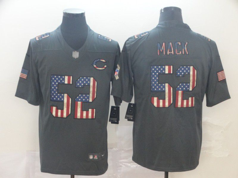 Men Chicago Bears 52 Mack Carbon Black Retro USA flag Nike NFL Jerseys