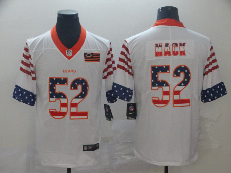 Men Chicago Bears 52 Mack White Retro USA Flag Nike NFL Jerseys