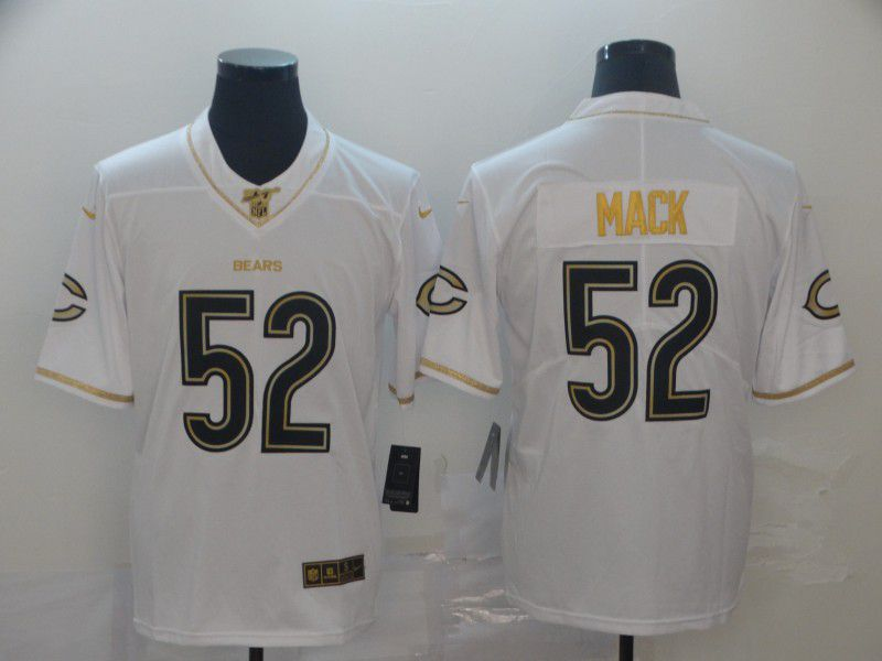 Men Chicago Bears 52 Mack White Retro gold character Nike NFL Jerseys