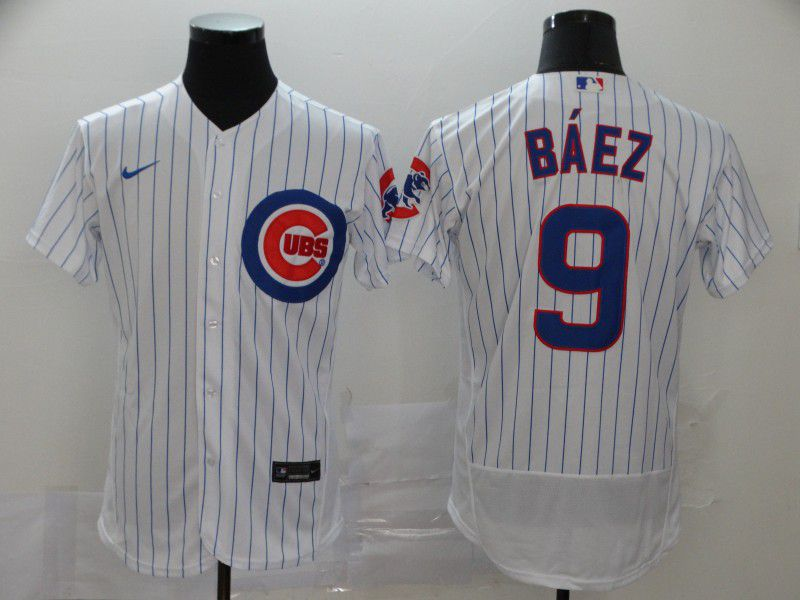 Men Chicago Cubs 9 Baez White stripes Nike Elite MLB Jerseys