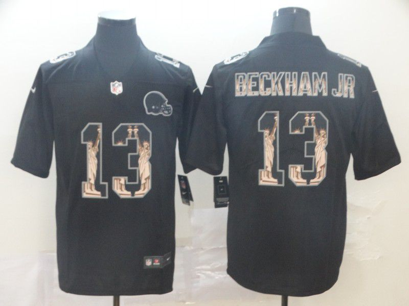 Men Cleveland Browns 13 Beckham jr Black Goddess fashion Edition Nike NFL Jerseys