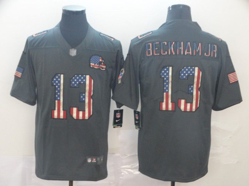 Men Cleveland Browns 13 Beckham jr Carbon Black Retro USA flag Nike NFL Jerseys