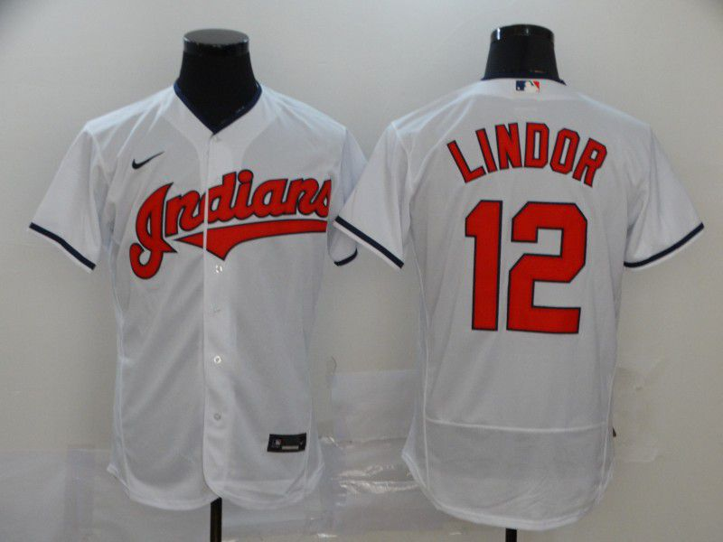 Men Cleveland Indians 12 Lindor White Elite Nike Elite MLB Jerseys