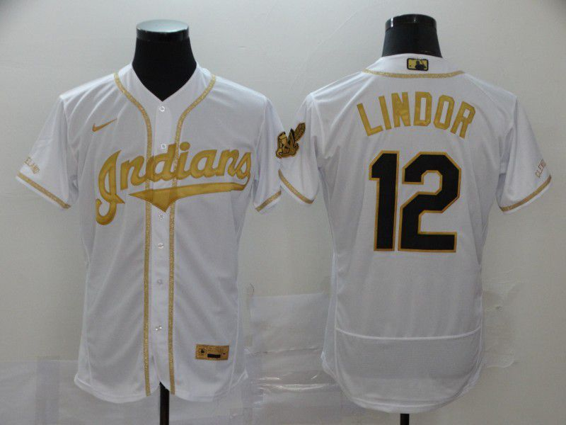Men Cleveland Indians 12 Lindor White Retro gold character Nike Elite MLB Jerseys