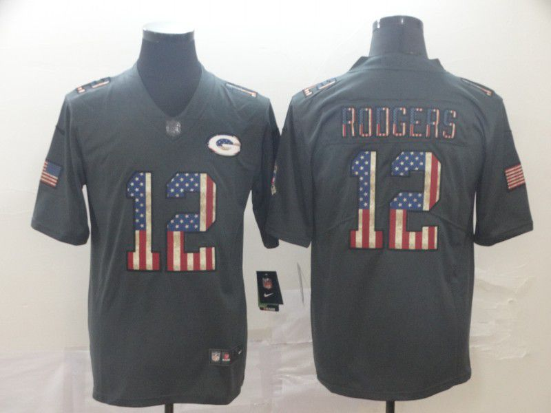 Men Green Bay Packers 12 Rodgers Carbon Black Retro USA flag Nike NFL Jerseys