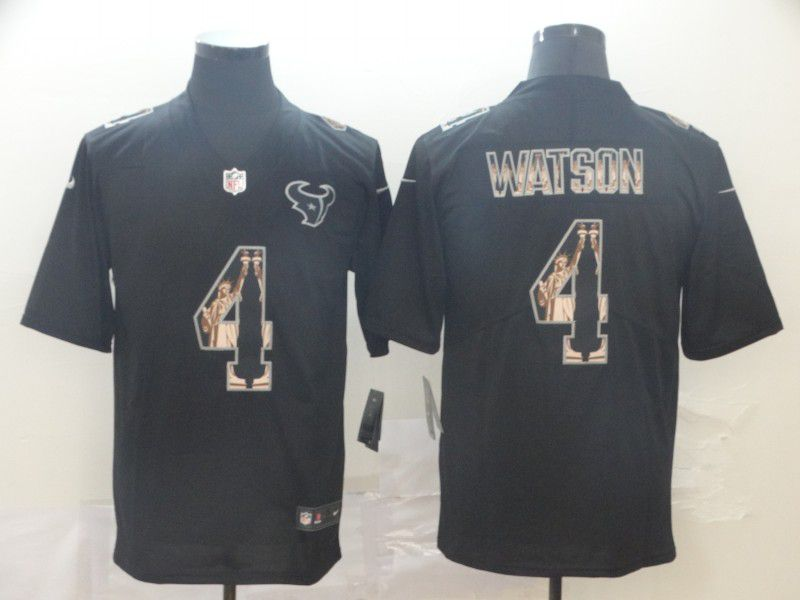 Men Houston Texans 4 Watson Black Goddess fashion Edition Nike NFL Jerseys