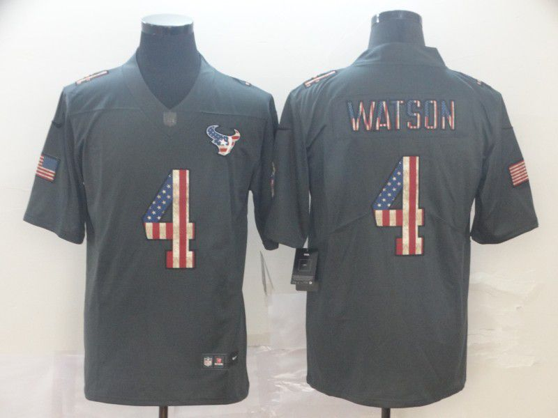 Men Houston Texans 4 Watson Carbon Black Retro USA flag Nike NFL Jerseys