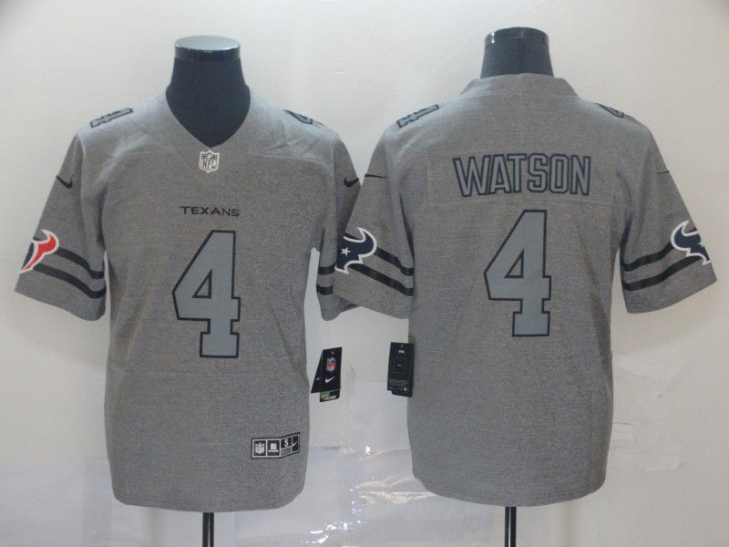 Men Houston Texans 4 Watson Grey Retro Nike NFL Jerseys