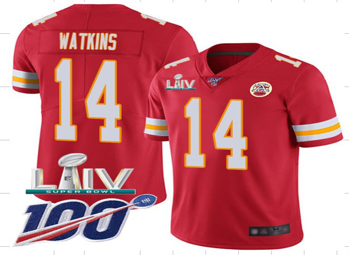 Men Kansas City Chiefs 14 Watkins Red Super Bowl LIV 2020 Stitched NFL Vapor Untouchable Limited Jersey