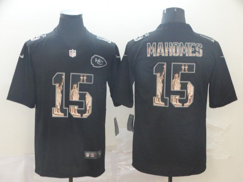 Men Kansas City Chiefs 15 Mahomes Black Goddess fashion Edition Nike NFL Jerseys