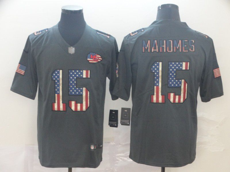 Men Kansas City Chiefs 15 Mahomes Carbon Black Retro USA flag Nike NFL Jerseys