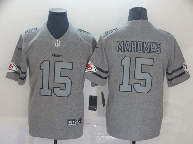 Men Kansas City Chiefs 15 Mahomes Grey Retro Nike NFL Jerseys