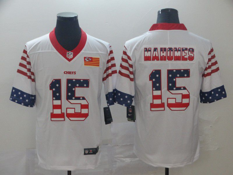 Men Kansas City Chiefs 15 Mahomes White Retro USA Flag Nike NFL Jerseys