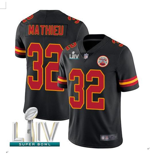 Men Kansas City Chiefs 32 Mathieu Black Super Bowl LIV 2020 Stitched NFL Vapor Untouchable Limited Jersey