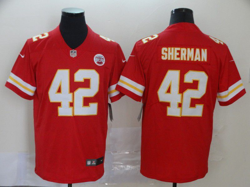 Men Kansas City Chiefs 42 Sherman Red Nike Vapor Untouchable Limited NFL Jersey