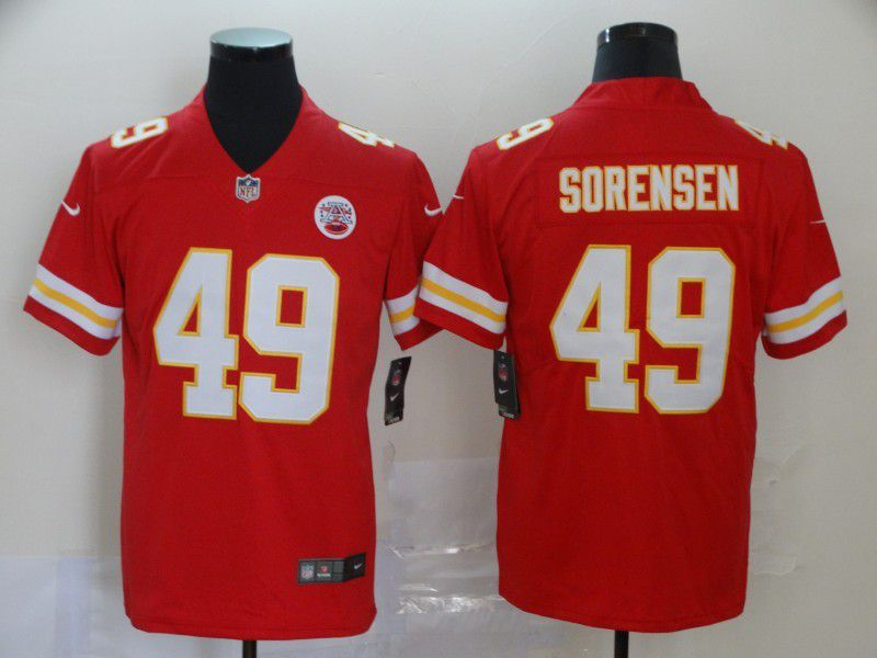 Men Kansas City Chiefs 49 Sorensen Red Nike Vapor Untouchable Limited NFL Jersey