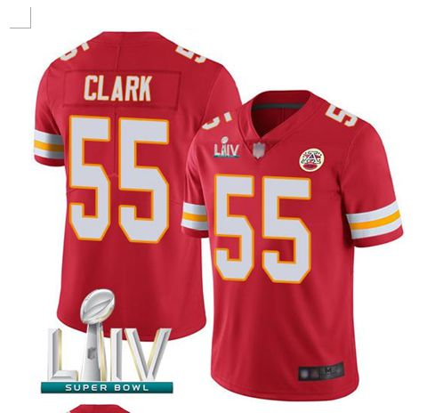 Men Kansas City Chiefs 55 Clark Red Super Bowl LIV 2020 Stitched NFL Vapor Untouchable Limited Jersey