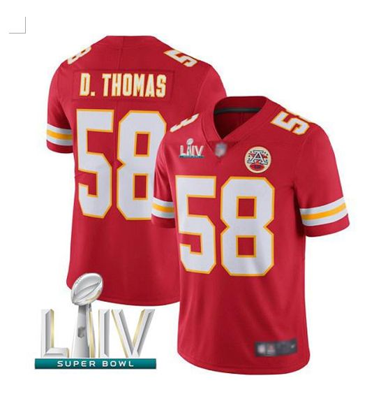 Men Kansas City Chiefs 58 D.Thomas Red Super Bowl LIV 2020 Stitched NFL Vapor Untouchable Limited Jersey
