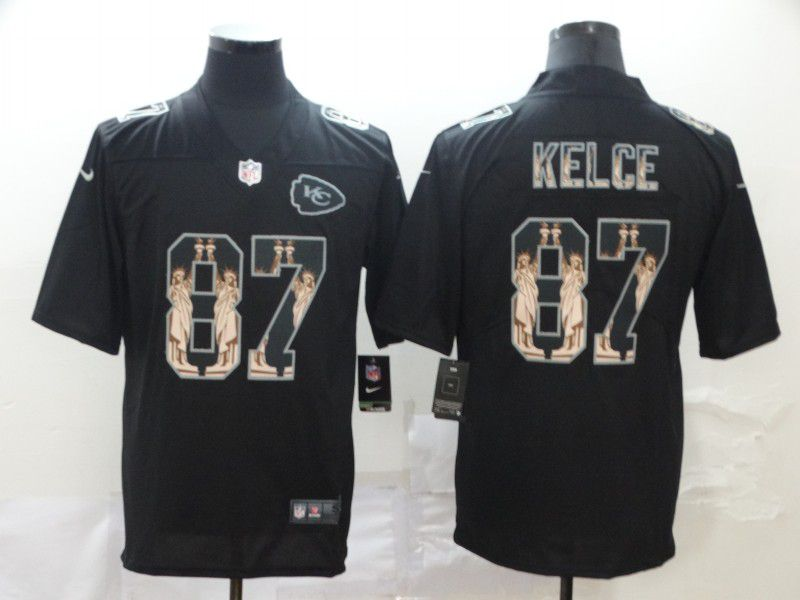 Men Kansas City Chiefs 87 Kelce Black Goddess fashion Edition Nike NFL Jerseys