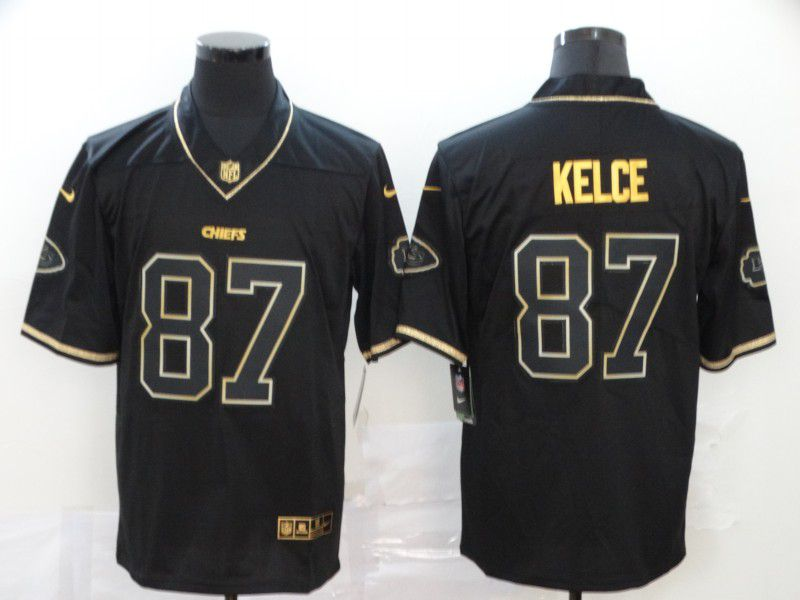 Men Kansas City Chiefs 87 Kelce Black Retro gold character Nike NFL Jerseys