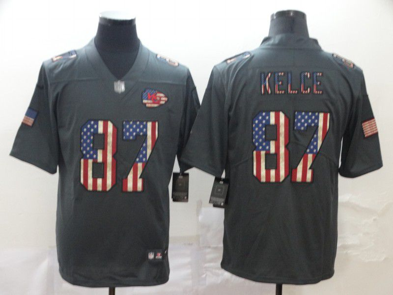 Men Kansas City Chiefs 87 Kelce Carbon Black Retro USA flag Nike NFL Jerseys