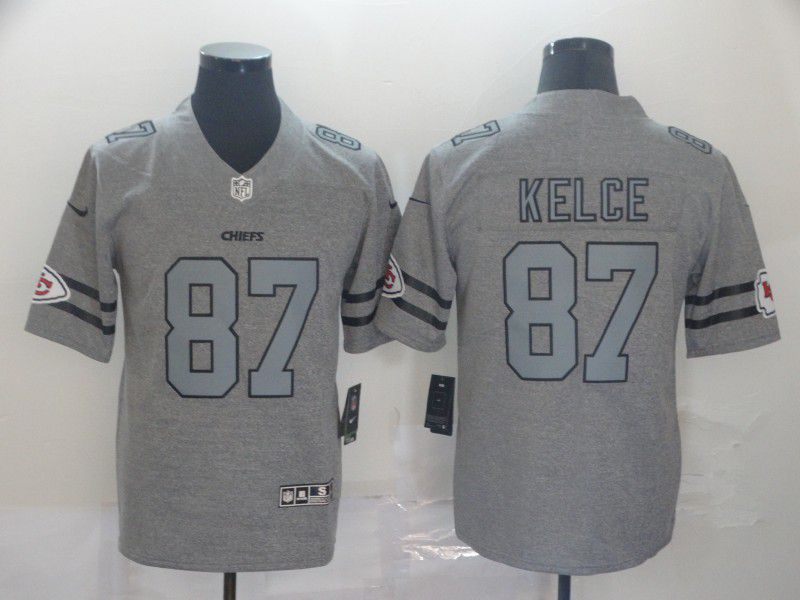 Men Kansas City Chiefs 87 Kelce Grey Retro Nike NFL Jerseys