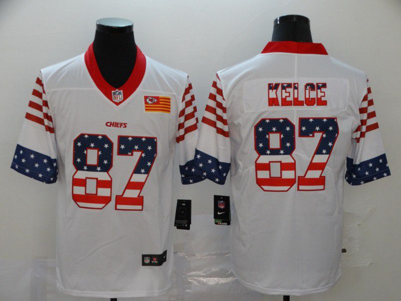 Men Kansas City Chiefs 87 Kelce White Retro USA Flag Nike NFL Jerseys